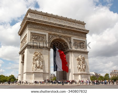PARIS, FRANCE - JULY 14, 2012: Arch of triumph during the celebration of the National day