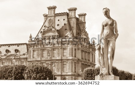 Paris, France - July 8, 2015: Architectural detail of the Louvre Museum, major landmark in the French capital city and worldwide - stock photo