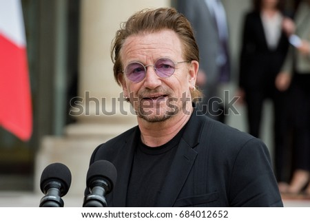 Paris, FRANCE - July 24, 2017 : Bono, the singer and leader of the band group U2 and Co-founder of the organization ONE at Elysee Palace to meet the french President to speak about his organization..