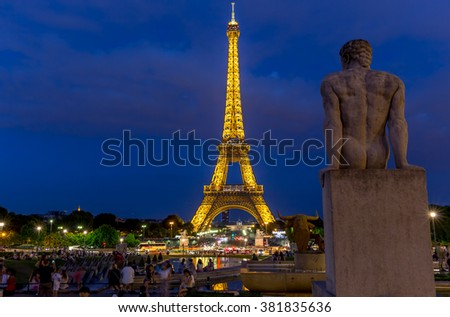 Paris, France, July 26.2015-Eiffel Tower at night in Paris - stock photo