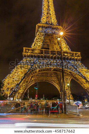 Paris, France - July 23.2015 - Eiffel Tower in Paris at night