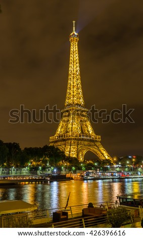 Paris, France, July 25.2015 - Eiffel tower in Paris by night, France