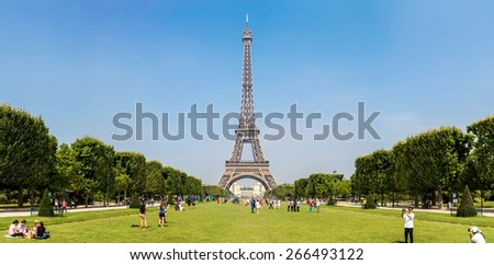 PARIS, FRANCE - JULY 14 2014: Eiffel Tower most visited monument in France and the most famous symbol of Paris, July 14, 2014 - stock photo