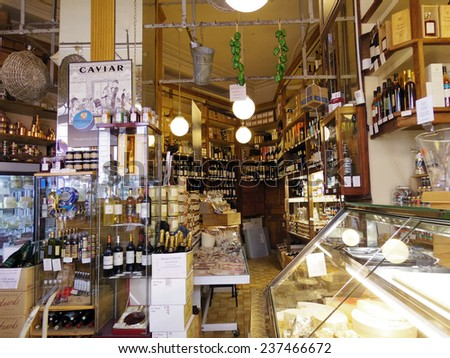 Paris, France - July 2014 - France grocery shop vintage style classic - stock photo