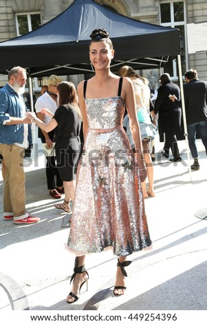 PARIS, FRANCE - JULY 06: Giovanna Battaglia attends the Valentino Haute Couture Fall/Winter 2016-2017 show as part of Paris Fashion Week. Outside arrivals.July 6, 2016  in Paris, France - stock photo