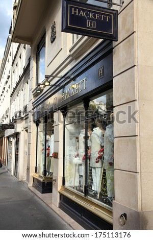 PARIS, FRANCE - JULY 24, 2011: Hackett store in Paris, France. The British luxury fashion brand is the sponsor of many prestigious events like BAFTA, Aston Martin Racing and others.