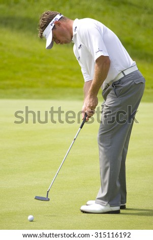 PARIS FRANCE, 03 JULY 2009. Lee Westwood (GBR) competing in the 2nd round of the PGA European Tour Open de France golf tournament. - stock photo