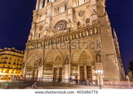 Paris, France, July 24.2015 - Notre Dame Cathedral in Paris - stock photo