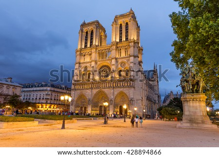 Paris, France, July 24.2015 - Notre Dame Cathedral in Paris, France - stock photo