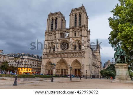 Paris, France, July 25.2015 - Notre Dame Cathedral in Paris, France