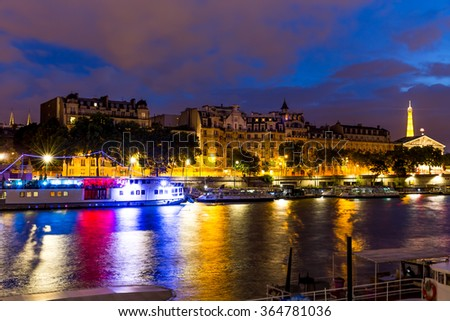 Paris, France-July 24, Paris at night on the Seine, France, July 24.2015 in Paris