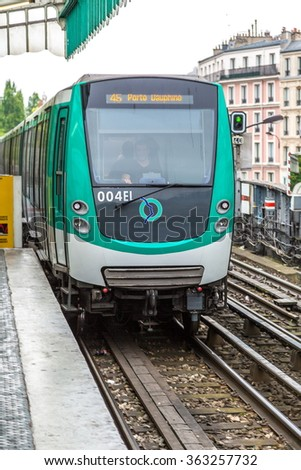 PARIS, FRANCE - JULY 14 2014: Paris Metro is the one of the largest underground system in the world in Paris, July 14, 2014