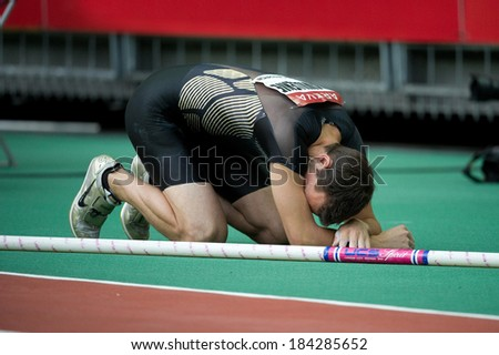 PARIS, FRANCE - JULY 7, 2011 - Renaud Lavillenie after a failed jump at meeting Areva to Stade de France - stock photo