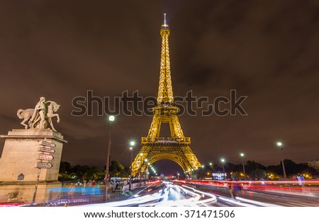 Paris, France-July 20, the Eiffel Tower at night in Paris, Paris, France, July 20.2015 - stock photo