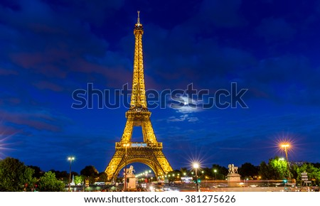 Paris, France, July 26.2015: the Eiffel Tower in Paris