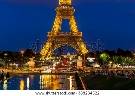 Paris, France, July 24.2015 - the Eiffel Tower in Paris at night - stock photo