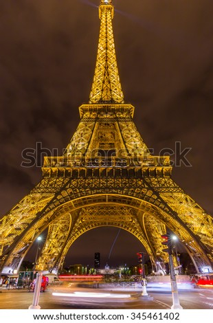 Paris, France-July 22, the Eiffel tower in Paris by night, July 22.2015 in Paris