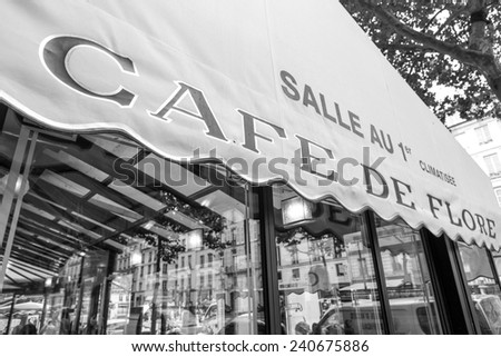 Paris, France-July 10, the famous Parisian cafe, July 10.2014 in Paris - stock photo