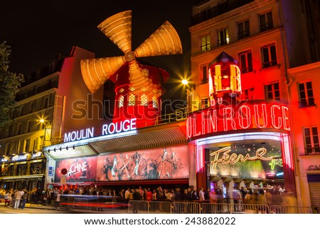 Paris, France-July 11, the Moulin Rouge, the Parisian cabaret, July 11.2014 in Paris - stock photo