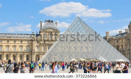 Paris, France - July 9, 2015: Tourists visit the famous Louvre Museum, major attraction in central Paris, France - stock photo
