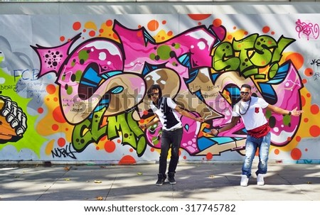PARIS FRANCE 28 JULY 2015 Two Hip Hop Dancers In Front Of Walls