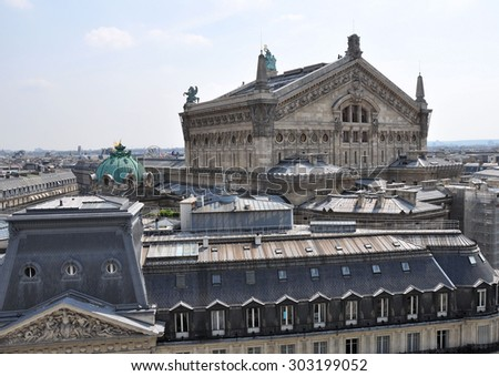 PARIS, FRANCE - JULY 2: View of Opera garnier from Galeries Lafayette on July 2, 2015 in Paris, France.