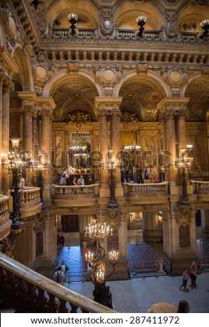 PARIS, FRANCE - JUN 6, 2015: Spectacular interior of the Palais Garnier (Opera Garnier) in Paris, France. It was originally called the Salle des Capucines