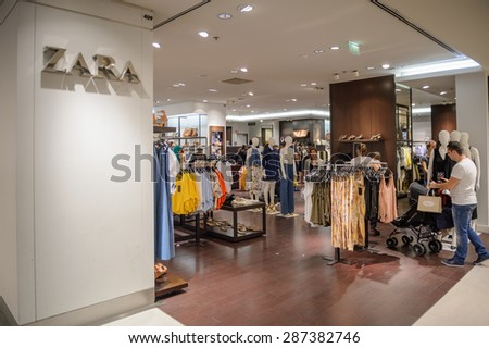 PARIS, FRANCE - JUN 6, 2015: Zara section in the Galeries Lafayette city mall. It was open in 1912 - stock photo