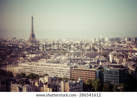 PARIS FRANCE-JUNE 6,2015:Aerial view of the Eiffel Tower in Paris, France in a beautiful summer day, process color