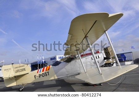 "PARIS, FRANCE - JUNE 24: Breguet.XIV P Replica, F-POST on display at the world's largest and oldest aviation showcase ""The International Paris Air Show"" on June 24, 2011 Le Bourget Airport, France."