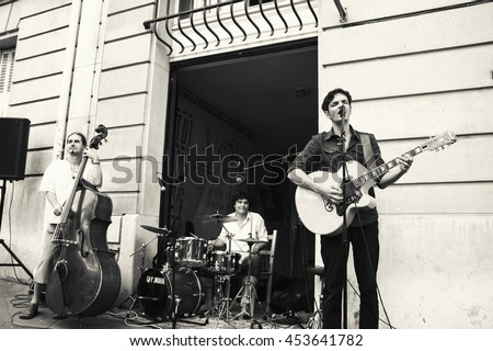 PARIS, FRANCE - JUNE 21, 2014: Celebration of World Music Day in front of Hungarian Institute in Paris. This organization promotes Hungarian language and culture abroad.