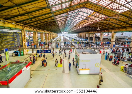 PARIS, FRANCE - JUNE 1, 2015: Gare du Nord station in Paris, with national and international destinations, is the busiest railway station of Europe - stock photo