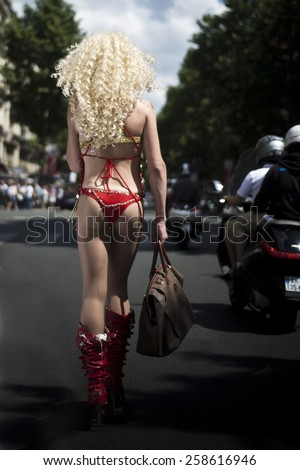 PARIS - FRANCE - JUNE 30 2012: Protesters marching for gay rights at The Gay Pride parade 2012 in Paris,  - stock photo