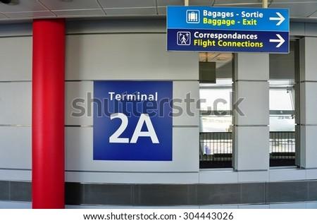 PARIS, FRANCE -9 JUNE 2015- Terminal 2A at the Roissy Charles de Gaulle International Airport (CDG) near Paris, France. - stock photo
