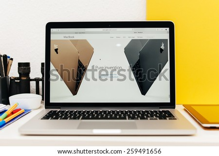 PARIS, FRANCE - MAR 10, 2015: Apple Computers website on MacBook Retina in room environment showcasing new MacBook as Pure innovation  as seen on 10 March, 2015 - stock photo