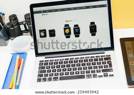 PARIS, FRANCE - MAR 10, 2015: Apple Computers website on MacBook Retina in room environment showcasing Apple Watch Edition range as seen on 10 March, 2015 - stock photo