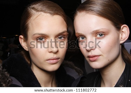 PARIS, FRANCE - MARCH 03: A beauty face shots of models backstage before the Barbara Bui Autumn/Winter 2011/2012 show during Paris Fashion Week at Pavillon Concorde on March 3, 2011 in Paris, France. - stock photo