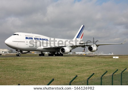 PARIS, FRANCE - MARCH 29: Air France Boeing 747-4B3 taxis around CDG Airport on March 29, 2010. Air France is the French flag carrier. - stock photo