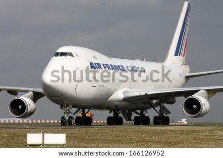 PARIS, FRANCE - MARCH 29: Air France Cargo Boeing 747-428F/ER/SCD taxis around CDG Airport on March 29, 2010. Air France is the French flag carrier. - stock photo