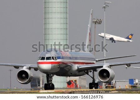 PARIS, FRANCE - MARCH 29: American Airlines Boeing 757-223 taxis around CDG Airport on March 29, 2010. American Airlines is a major U.S. airline headquartered in Fort Worth, Texas. - stock photo