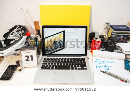PARIS, FRANCE - MARCH 21, 2016: Apple Computers website on MacBook Pro Retina in a geek creative room environment showcasing the newly announced iPad pro and its 4 speakers - stock photo