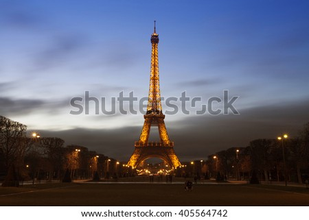 PARIS, FRANCE - MARCH 27, 2016: Beautiful view of Eiffel tower at dusk, Paris, France