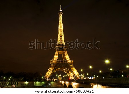 PARIS, FRANCE - MARCH 13: Ceremonial lighting of the Eiffel tower on March 13, 2010 in Paris, France.