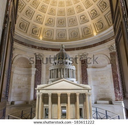 PARIS, FRANCE -Â?Â? MARCH  13, 2014: Interiors and architectural details of the Pantheon necropolis, built in 1757, in latin district,  March 13, 2014 in Paris, France.