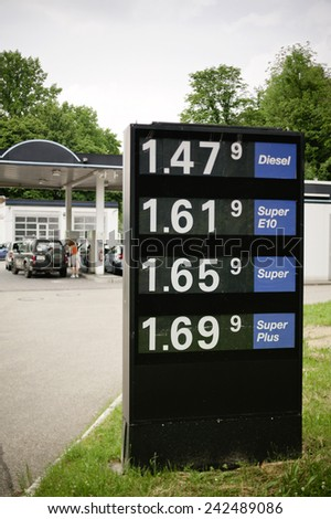 PARIS, FRANCE - MAY 31, 2012: A sign with gas prices just before the gas station pumps - stock photo