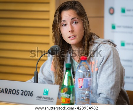 PARIS, FRANCE - MAY 26 : Alize Cornet talks to the media at the 2016 French Open