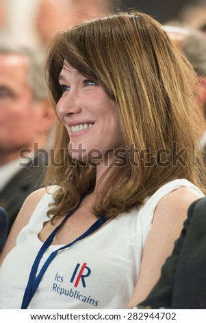 PARIS, FRANCE - MAY 30, 2015 : Carla Bruni during the founding congress of the Republican Party. - stock photo