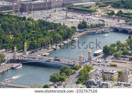 Paris, France - May 9, 2014: Famous bridge of Alexander III. One of the main attractions of Paris. - stock photo