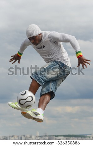 Paris,France - May 29, 2014 - Footballer freestyler, Iya Traore from Guinea, in Sacre Couer Basilica, Montmartre. - stock photo