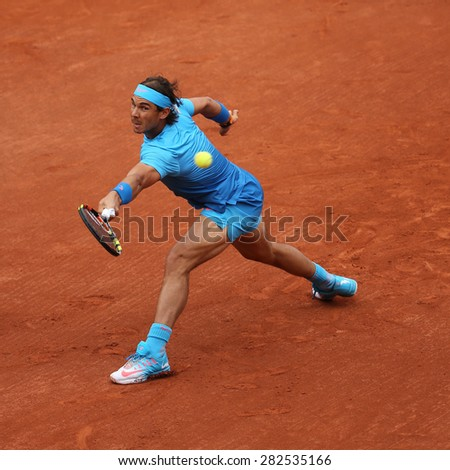 PARIS, FRANCE- MAY 28, 2015:Fourteen times Grand Slam champion Rafael Nadal during second round match at Roland Garros 2015 in Paris, France